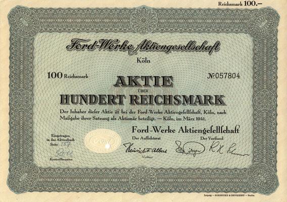 Aandeel (Aktie) 100 RM Ford-Werke A.G. Köln uit 1941.