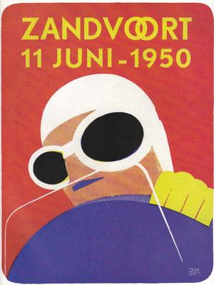 Poster races Zandvoort 1950. Een fraaie steendruk van Jan Aped.