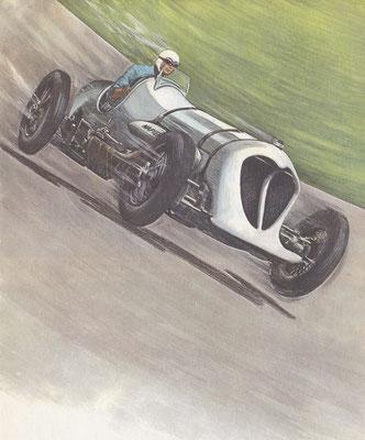 John R. Cobb vestigde in 1935 het absolute Brooklands-record op 230 kilometer per uur met een speciaal gebouwde Napier-Railton.
