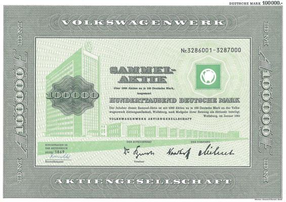 Aandelen (Aktien) DM 100.000 Volkswagenwerk A.G. Wolfsburg uit 1961.