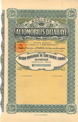 Preferent aandeel Société des Automobiles Delahaye S.A. met het oude logo. (blanket)