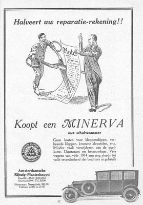 Een advertentie van ARM voor Minerva uit 1926.