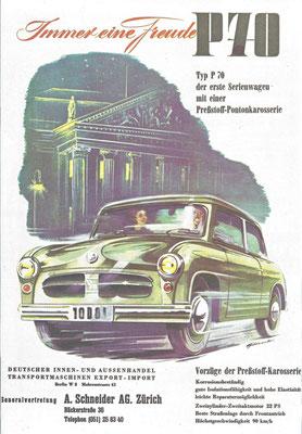Zwitserse advertentie voor de Zwickau P70 uit de DDR, de voorloper van de Trabant.