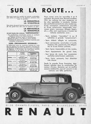 Advertentie Renault in l'Illustration 1931.