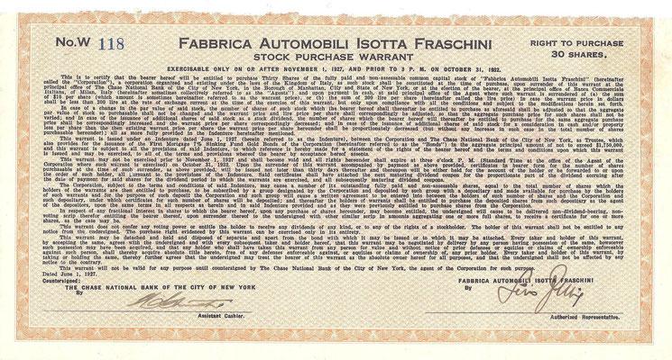 Een warrant voor het verkrijgen van 30 aandelen Fabbrica Automobili Isotta Fraschini uit 1927.