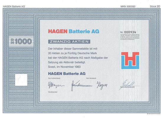 20 Aandelen Hagen Batterie AG uit 1983.
