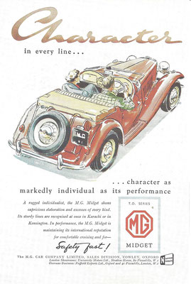 Advertentie M.G. Midget.