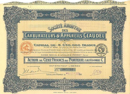 Een aandeel S.A. des Carburateurs & Appareils Claudel uit 1924.