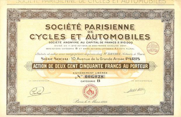 Société Parisienne de Cycles et Automobiles S.A. uit 1929.