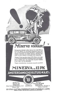Een advertentie van de Amsterdamsche Rijtuig Maatschappij voor Minerva  uit 1930.