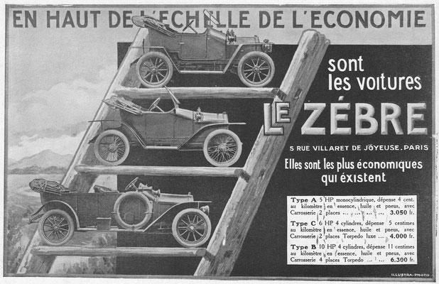 Een advertentie van Le Zèbre uit 1913.
