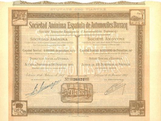 Een aandeel S.A. Espanola de Automoviles Darracq uit 1907. Dit stuk (met een ander nummer) is te koop, prijs € 10,00 email: info@automobielhistorie.com
