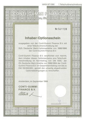 Inhaber-optionsschein Conti-Gummi Finance B.V. uit 1986.