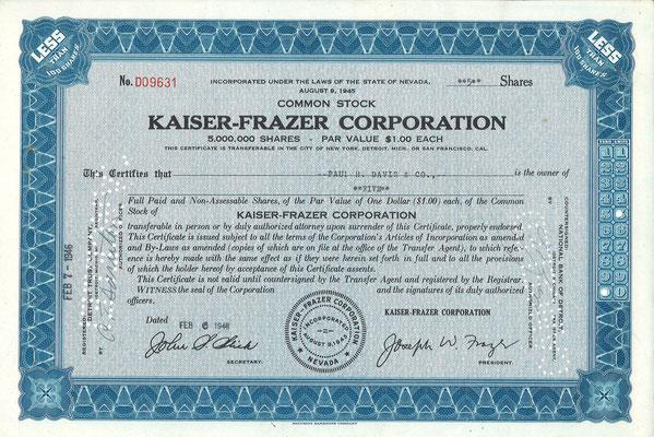 Certificaat voor 5 aandelen Kaiser-Frazer Corporation uit 1946. Dit stuk (met een ander nummer) is te koop, prijs € 10,00 email: info@automobielhistorie.com