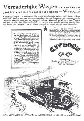 Nederlandse advertentie voor Citroën uit 1930.