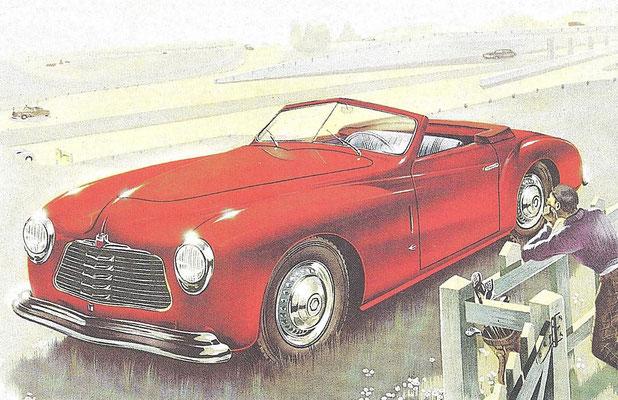 Impressie Simca 8 Sport uit 1949, ontworpen door Farina en gebouwd door Facel.