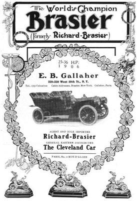 Een advertentie van Brasier uit 1906.