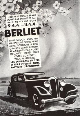 Advertentie voor Berliet personenwagens.
