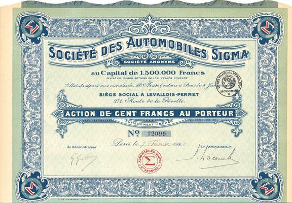 Aandeel Société des Automobiles Sigma S.A. uit 1921.