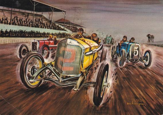 De Amerikaan Ralph de Palma vestigt in 1915 met een Mercedes een nieuw record op de 500 mijl race van Indianapolis en behield dit tot 1922.