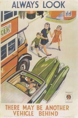 Poster over veiligheid in het verkeer.