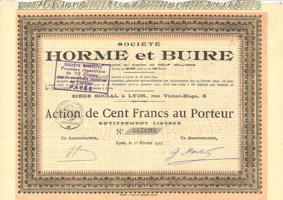 Een aandeel Société Horme et Buire uit 1917.