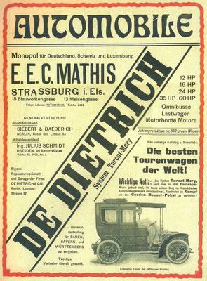 Een advertentie voor De Dietrich uit 1904.