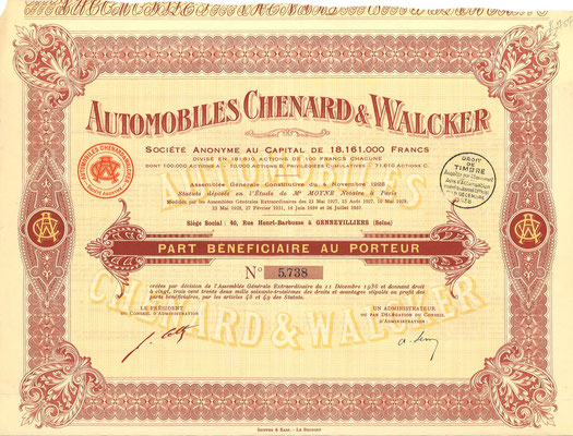 Een aandeel Automobiles Chenard & Walcker S.A. uit 1938.