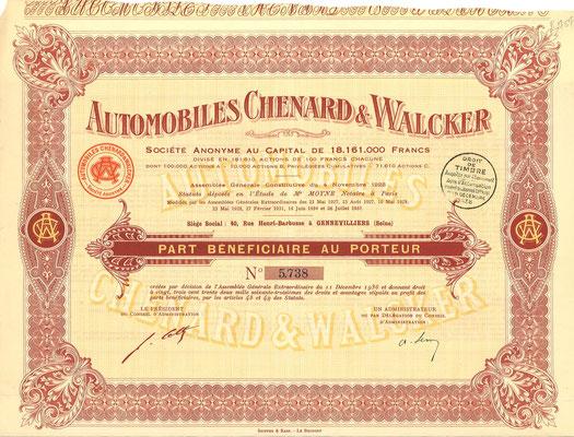 Aandeel Automobiles Chenard & Walcker S.A. uit 1938.
