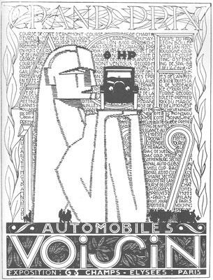 Een advertentie van Voisin uit 1924. Het Egyptische motief weerspiegelt de belangstelling voor het pas ontdekte graf van Toetanchamon.