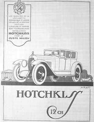 Een Franse advertentie voor Hotchkiss getekend door Alexis Kow.