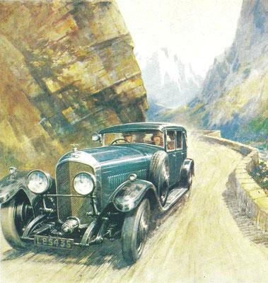 Kunstwerk van Gordon Crosby met een Bentley Saloon 6,5 liter.