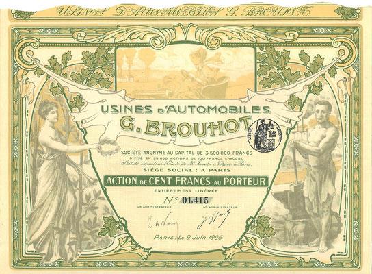 Een aandeel Usines d'Automobiles G. Brouhot S.A. uit 1906.