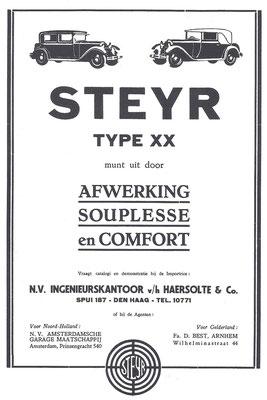 Een advertentie voor Steyr uit 1930.