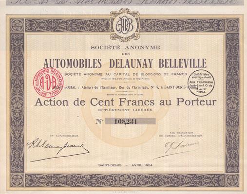 Aandeel S.A. des Automobiles Delaunay Belleville uit 1924. Dit stuk (met een ander nummer) is te koop, prijs € 12,00 email: info@automobielhistorie.com
