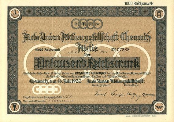 Aandeel 1.000 RM Auto Union A.G. uit 1932.