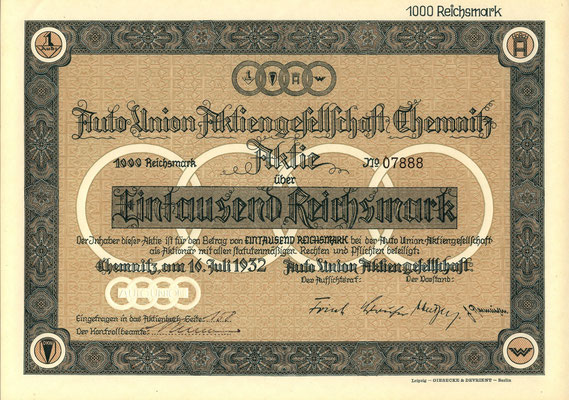 Aandeel (Aktie) 1000 RM Auto Union A.G. Chemnitz uit 1932.