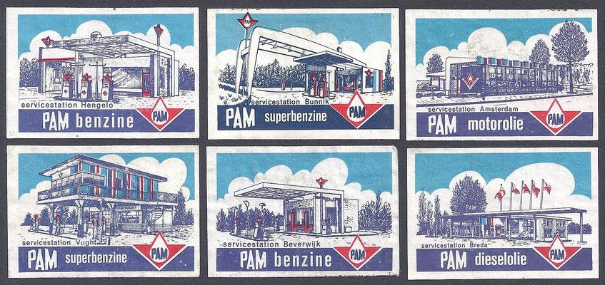 Luciferplaatjes van PAM servicestations, 1963.