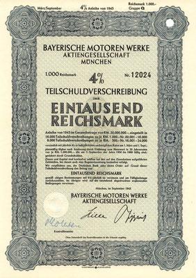 Obligatie (Teilschuldverschreibung) 1000 RM Bayerische Motoren Werke A.G. München uit 1943.