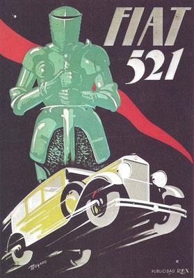 Een affiche van Moyano voor de Fiat 521.