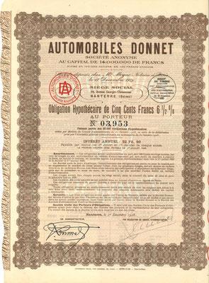Een obligatie Automobiles Donnet S.A. uit 1928.