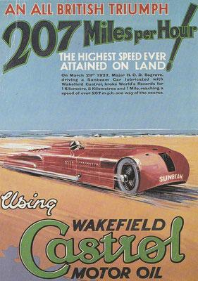 Één van een set van vier advertentiekaarten voor Castrol olie verstrekt aan garagebedrijven tussen 1927 en 1937.