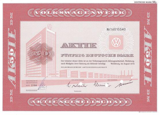 Aandeel DM 50 Volkswagenwerk A.G. uit 1978.