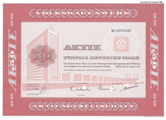Aandeel (Aktie) DM 50 Volkswagenwerk A.G. Wolfsburg uit 1978.