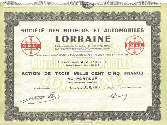 Aandeel Société des |Moteurs et Automobiles Lorraine S.A.