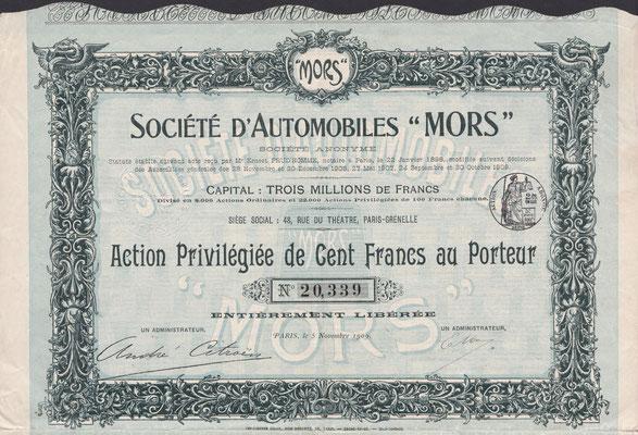 """Preferent aandeel Société d'Automobiles """"Mors"""" S.A. uit 1909 met de handtekening van André Citroën."""