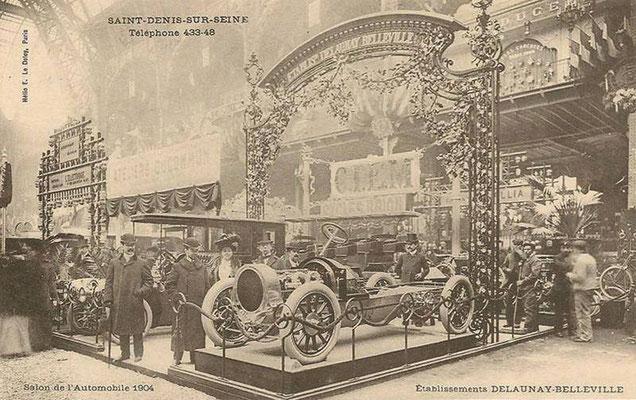 Een Delaunay Belleville op een automobieltentoonstelling in 1904.