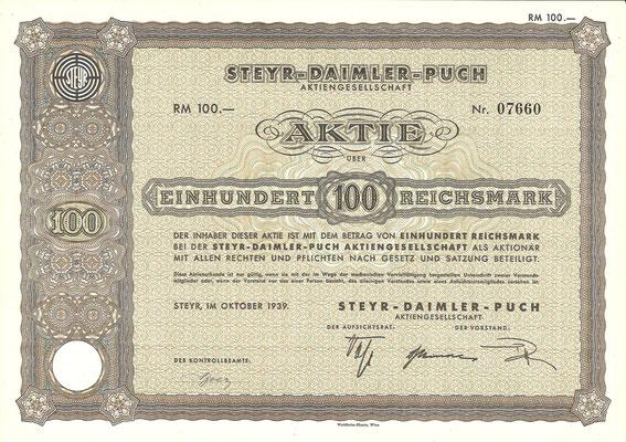 Een aandeel van 100 RM Steyr-Daimler-Puch uit 1939.