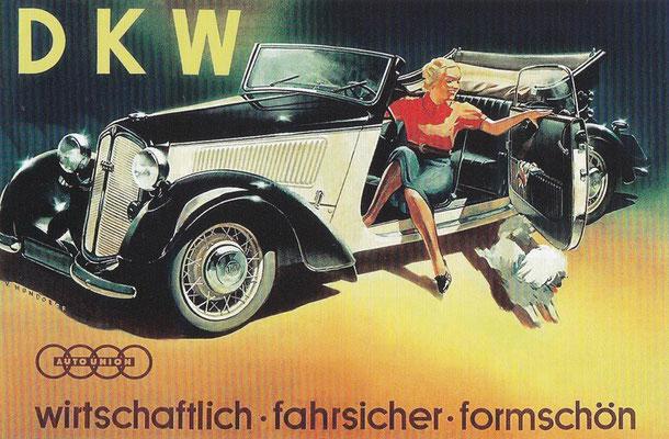 Affiche van Victor Mundorff uit 1938 voor de DKW vierzits F7 Front-Luxecabriolet.