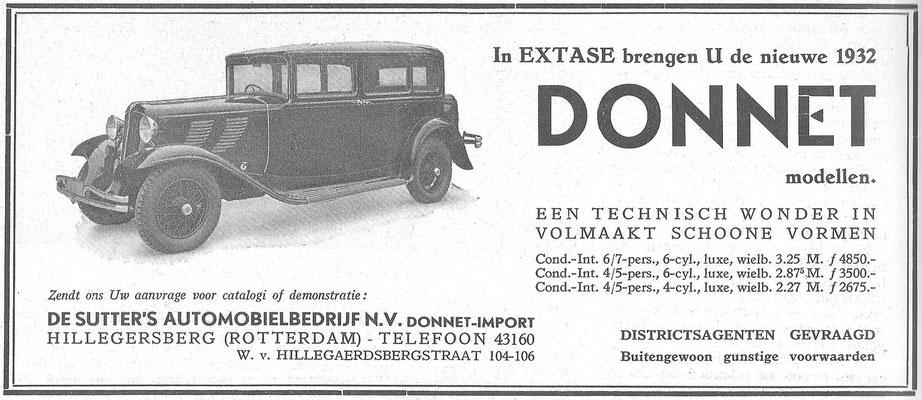 Een Nederlandse advertentie voor Donnet uit 1932.
